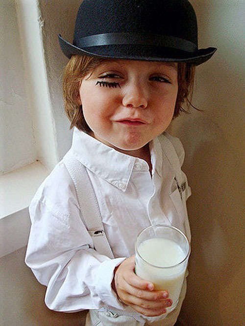 baby in halloween costume clockwork orange