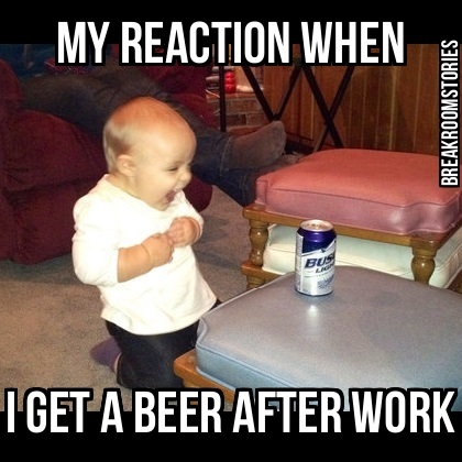 baby laughing at beer