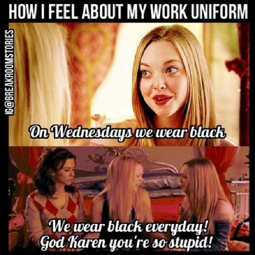 mean girls waitress uniform meme